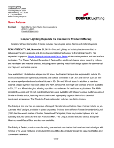 Cooper Lighting Expands Its Decorative Product Offering News Release