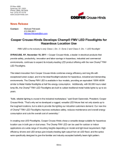 Cooper Crouse-Hinds Develops Champ® FMV LED Floodlights for Hazardous Location Use