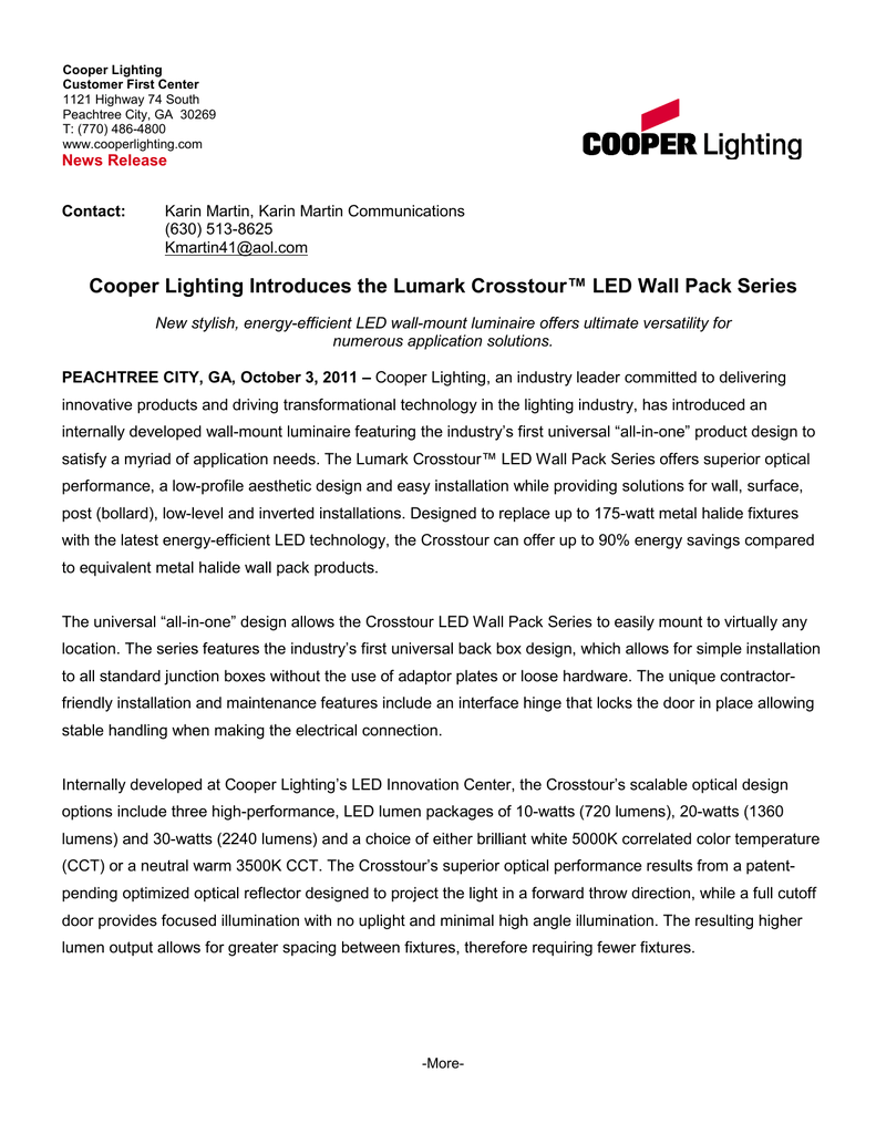 ... Cooper Lighting Introduces The Lumark Crosstour Led Wall Pack Series ...  sc 1 st  Depthfirstsolutions & Cooper Lighting Crosstour Led - Depthfirstsolutions azcodes.com