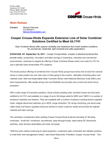 Cooper Crouse-Hinds Expands Extensive Line of Solar Combiner News Release