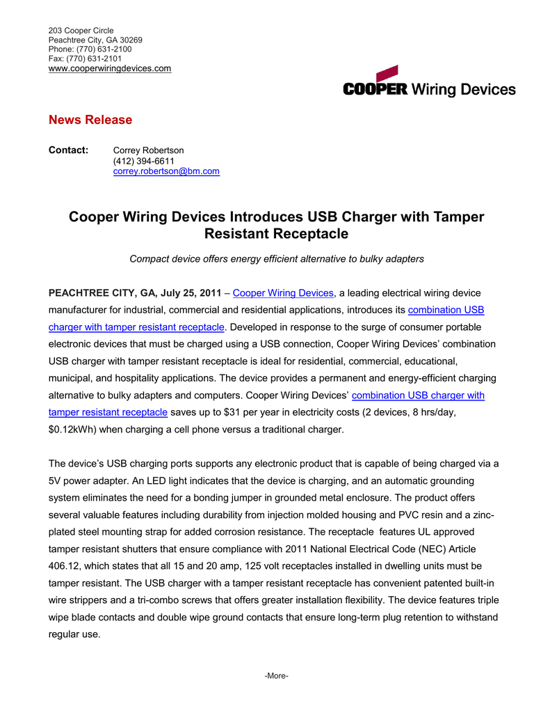 Astonishing Cooper Wiring Devices Introduces Usb Charger With Tamper Resistant Wiring 101 Tzicihahutechinfo