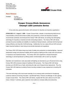 Cooper Crouse-Hinds Announces Champ® LED Luminaire Series  News Release