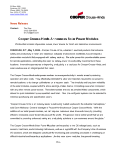 Cooper Crouse-Hinds Announces Solar Power Modules  News Release