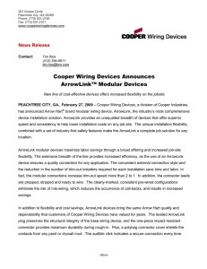 Cooper Wiring Devices Announces ArrowLink™ Modular Devices  News Release