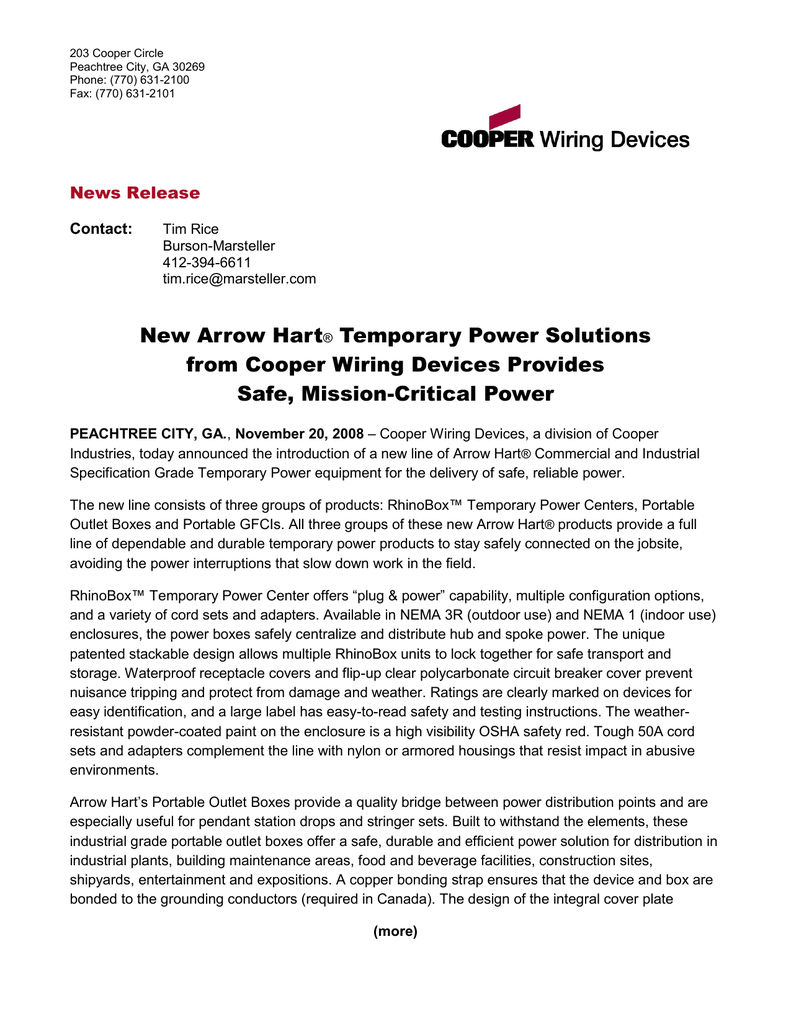 New Arrow Hart Temporary Power Solutions from Cooper Wiring Devices ...