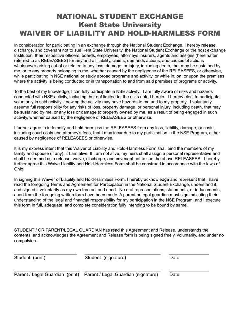 National Student Exchange Kent State University Waiver Of Liability
