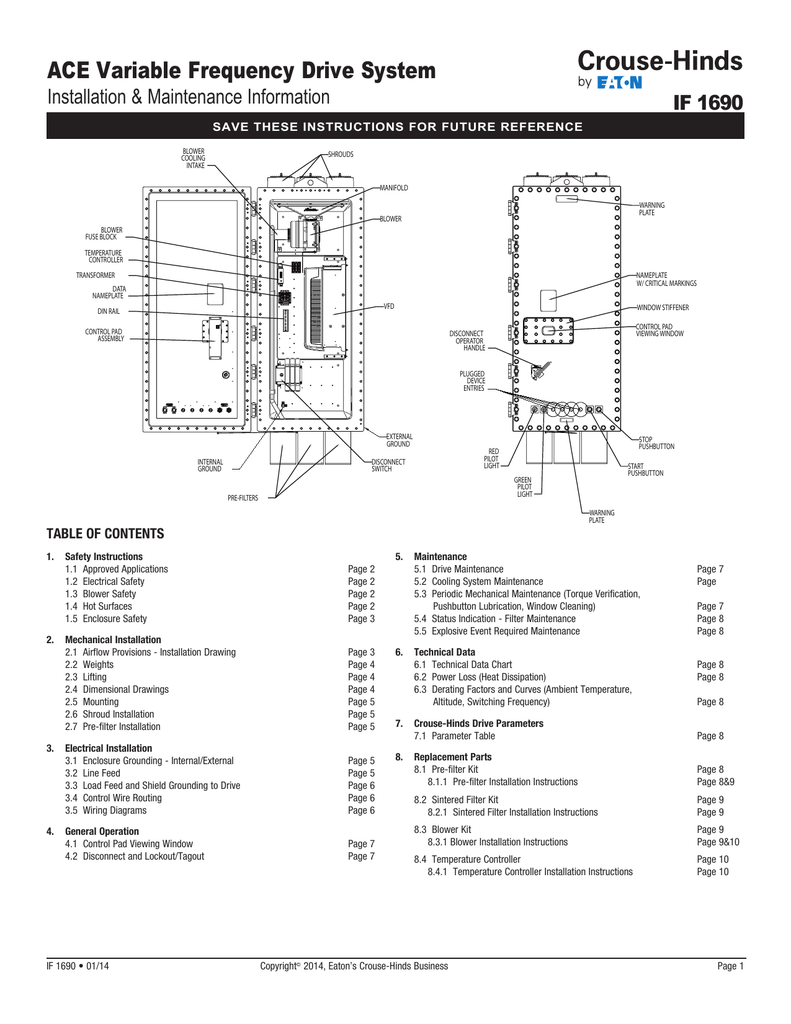 Ace Variable Frequency Drive System If 1690 Installation 2 Line Phone Systems Wiring Diagram Maintenance Information