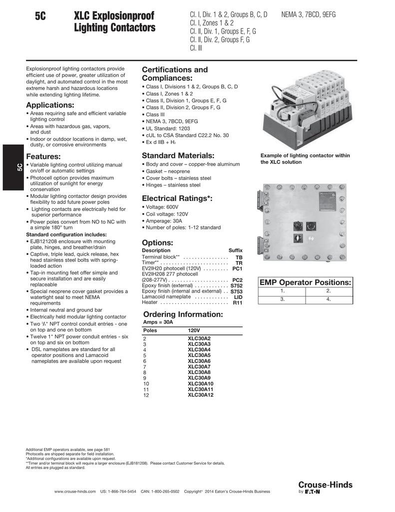 5c Xlc Explosionproof Lighting Contactors Eaton Contactor 277v Wiring Diagram