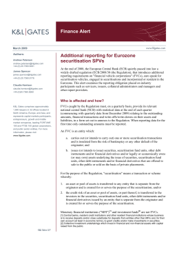 Finance Alert Additional reporting for Eurozone securitisation SPVs