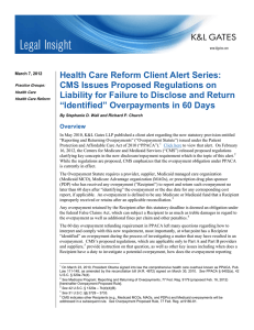 Health Care Reform Client Alert Series: CMS Issues Proposed Regulations on