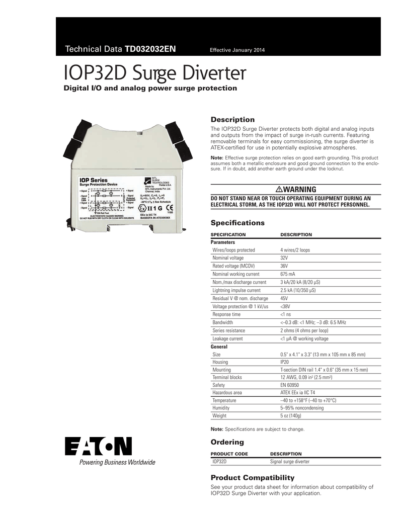 Iop32d Surge Diverter Td032032en Digital I O And Analog Power 38v Wiring Diagram Protection Description