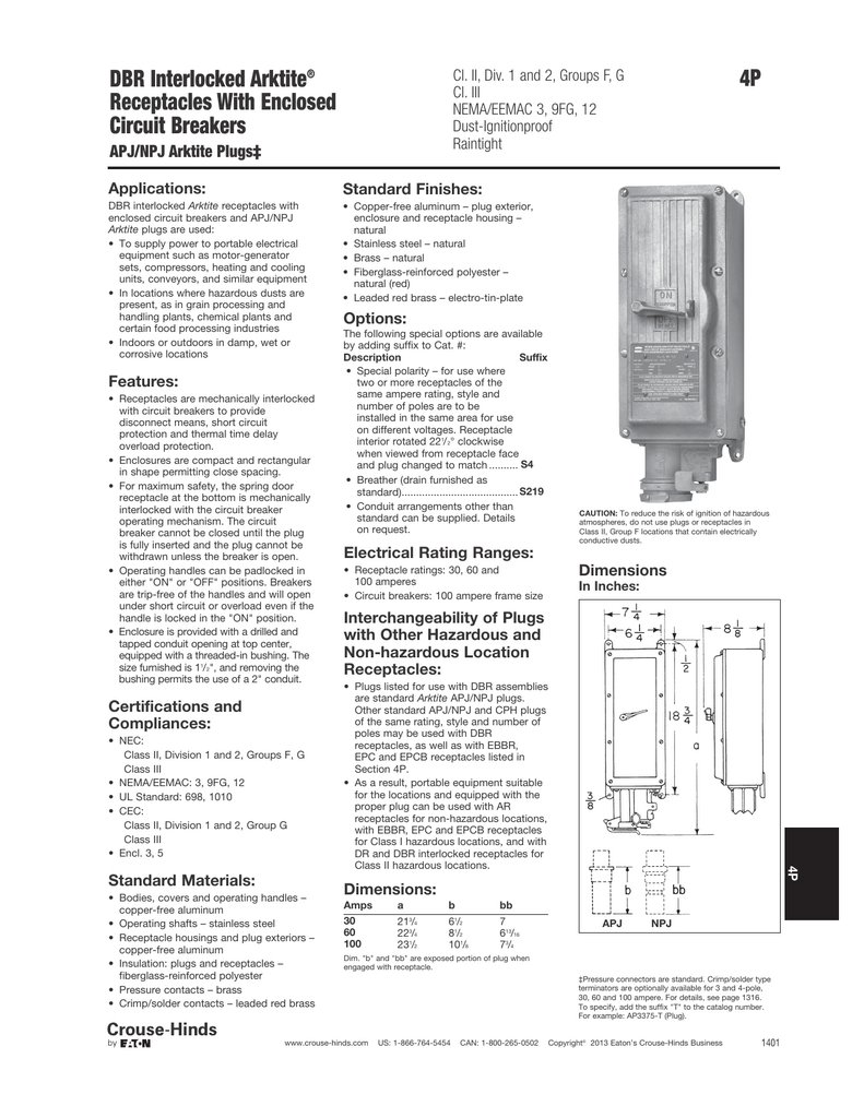 4p dbr interlocked arktite receptacles with enclosed circuit breakers