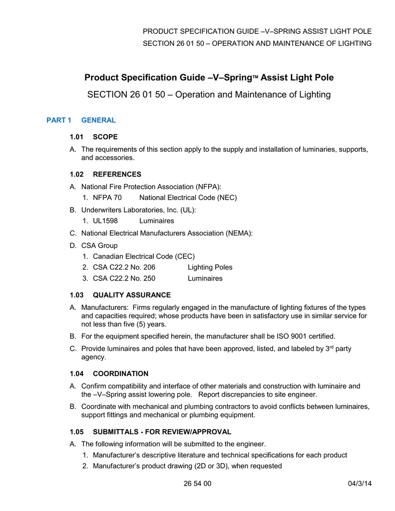 V spring assist light pole product specification guide section 26 01 50