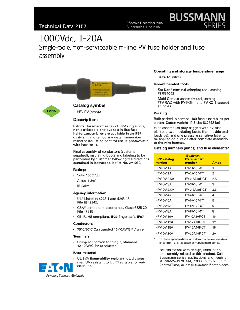 Bussmann 1000vdc 1 20a Series Single Pole Non Serviceable In Line Wiring Harness Assembly Design Pv Fuse Holder And