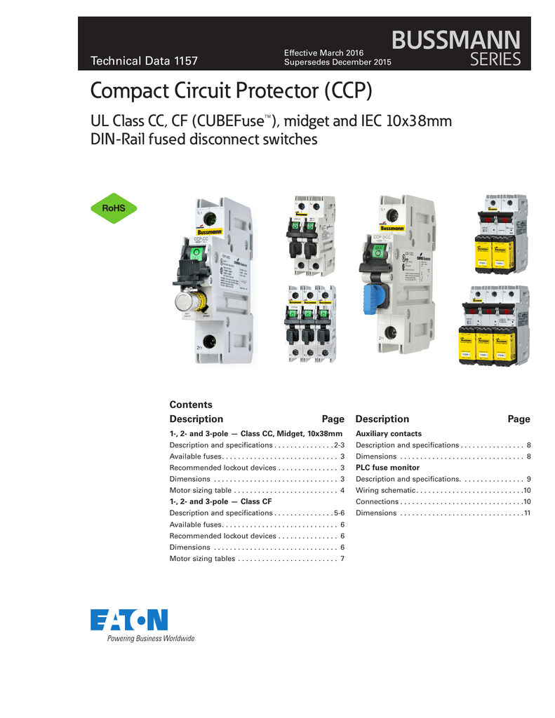 Bussmann Compact Circuit Protector Ccp Series Iec Fuse With Switch Wiring Diagram