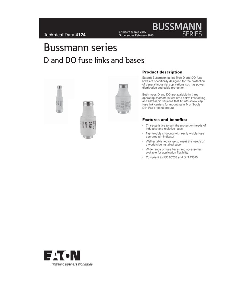 Bussmann Series D And Do Fuse Links Bases Holder Distribution Box