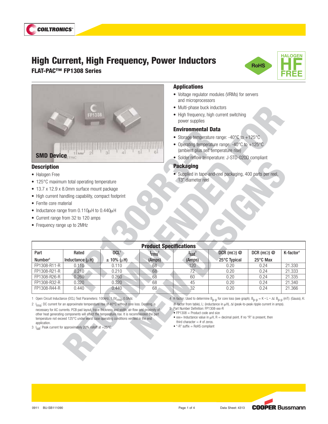 High Current, High Frequency, Power Inductors