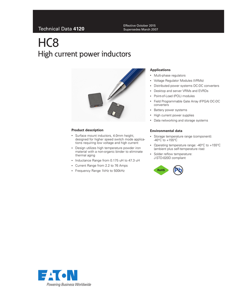 Hc8 High Current Power Inductors 4120 Supply Dc