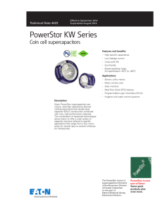 PowerStor KW Series Coin cell supercapacitors Pb HF