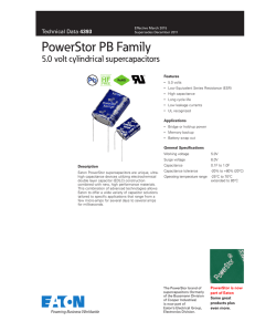 PowerStor PB Family 5.0 volt cylindrical supercapacitors Pb HF