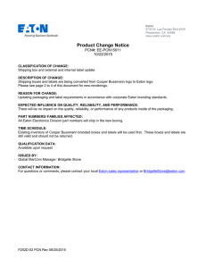 Product Change Notice PCN#: EE-PCN15011 10/22/2015