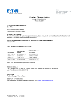Product Change Notice PCN#: EE-PCN16017 March 22, 2016