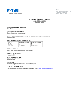 Product Change Notice PCN#: EE-PCN16011 March 5, 2016