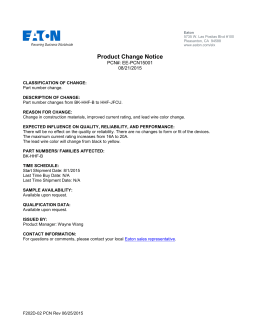 Product Change Notice PCN#: EE-PCN15001 08/21/2015