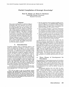 Partial  Compilation of  Strategic  Knowledge1 Abstract
