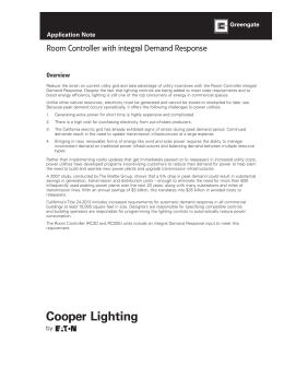 Room Controller with integral Demand Response INS # Overview Application Note
