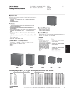 1E GHG64 Series Flameproof Enclosures Applications: