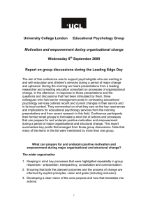 University College London Educational Psychology Group Wednesday 9