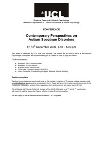 Contemporary Perspectives on Autism Spectrum Disorders  Fri 18