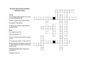 Ed Psych Spring 2010 newsletter Crossword Clues Across 1
