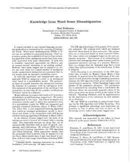 Knowledge Lean  Word  Sense  Disambiguation Ted  Pedersen
