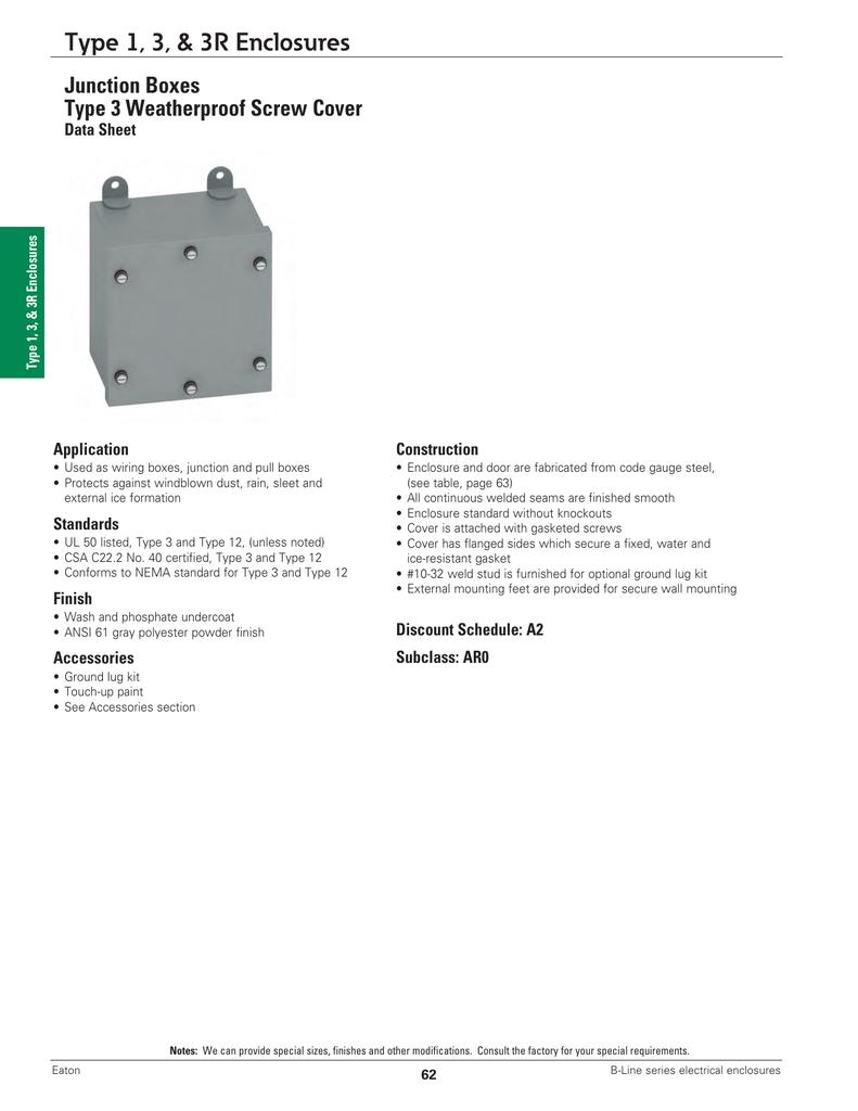 Type 1 3 3r Enclosures Junction Boxes Data Sheet Box Wiring Code