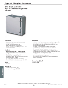 Type 4X Fiberglass Enclosures Wall-Mount Enclosures Type 3R Continuous Hinge Cover Data Sheet