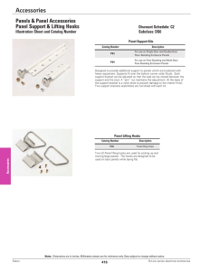 Accessories Panels & Panel Accessories Panel Support & Lifting Hooks Discount Schedule: C2