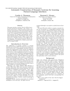 Automatic Construction of Semantic Lexicons for Learning Natural Language Interfaces