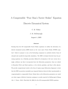 "A Compressible ""Poor Man's Navier–Stokes"" Equation Discrete Dynamical System C. B. Velkur"