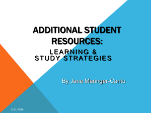 ADDITIONAL STUDENT RESOURCES: