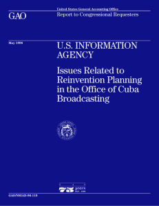 GAO U.S. INFORMATION AGENCY Issues Related to