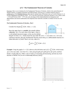 § 5.3  The Fundamental Theorem of Calculus