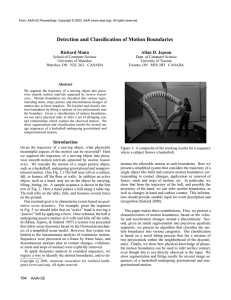 Detection and Classification of Motion Boundaries Richard Mann Allan D. Jepson