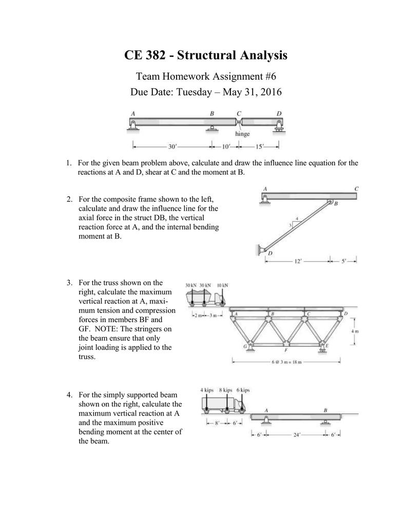 Ce 382 Structural Analysis Team Homework Assignment 6