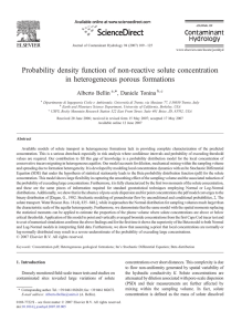 Probability density function of non-reactive solute concentration in heterogeneous porous formations