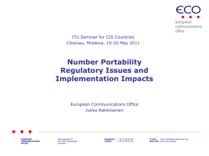Number Portability Regulatory Issues and Implementation Impacts