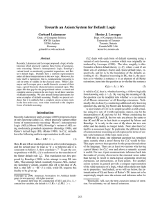 Towards an Axiom System for Default Logic Gerhard Lakemeyer Hector J. Levesque