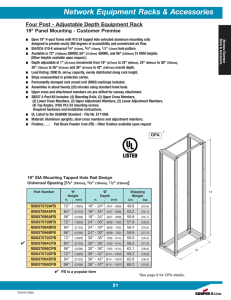 "Network Equipment Racks & Accessories 19"" Panel Mounting - Customer Premise"