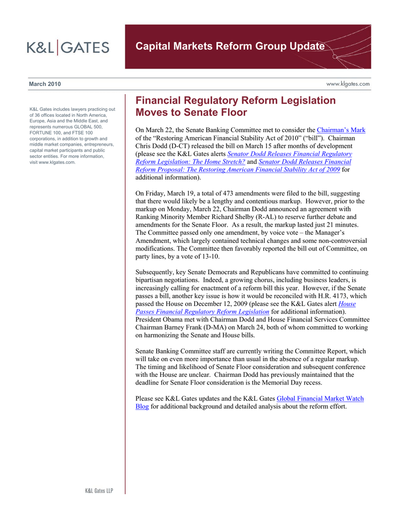 Capital Markets Reform Group Update Financial Regulatory Reform